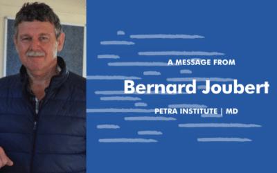 A MESSAGE FROM OUR MD, BERNARD JOUBERT